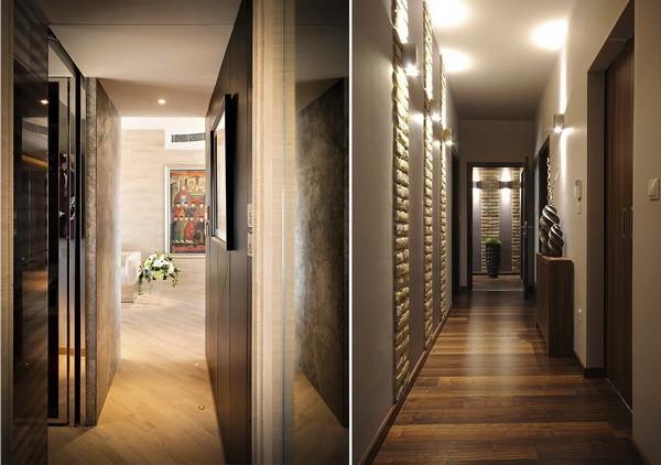Đèn hành lang tập chung chủ yếu hắt lên tường và trần nhà