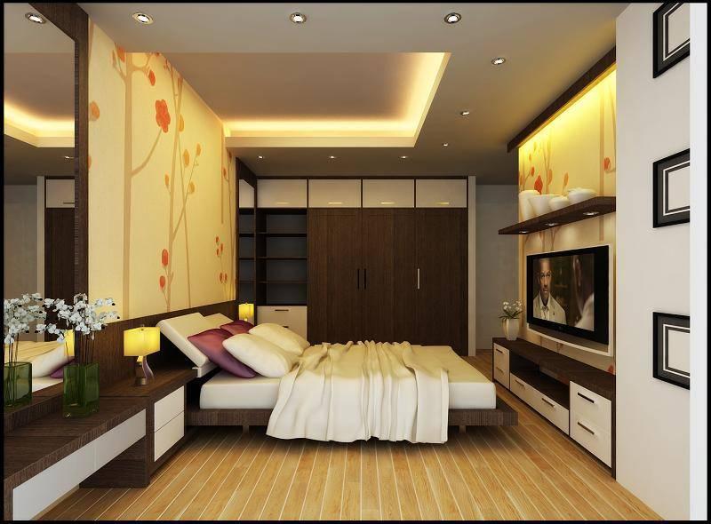 Bố trí ánh sáng không gian phòng ngủ dịu nhẹ và ấm cúng