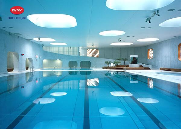 Hệ thống trần xuyên sáng của bể bơi