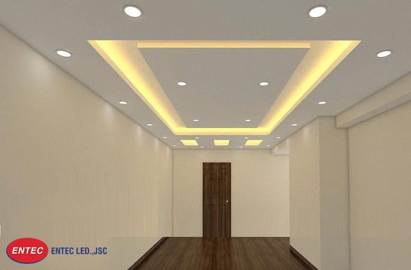 Đèn Led âm trần thạch cao trong không gian nội thất phòng khách