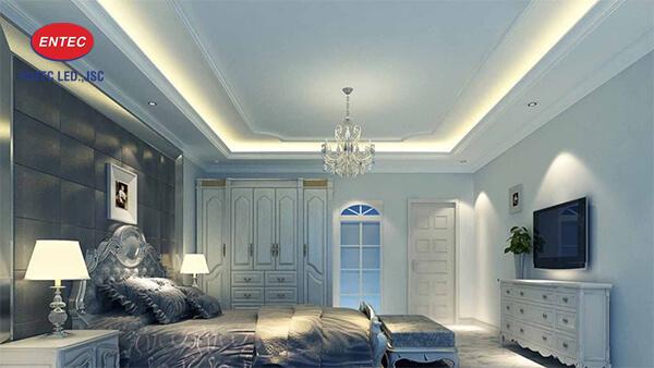 Tiến hành lắp đặt đèn Led hắt tràn cho không gian phòng ngủ