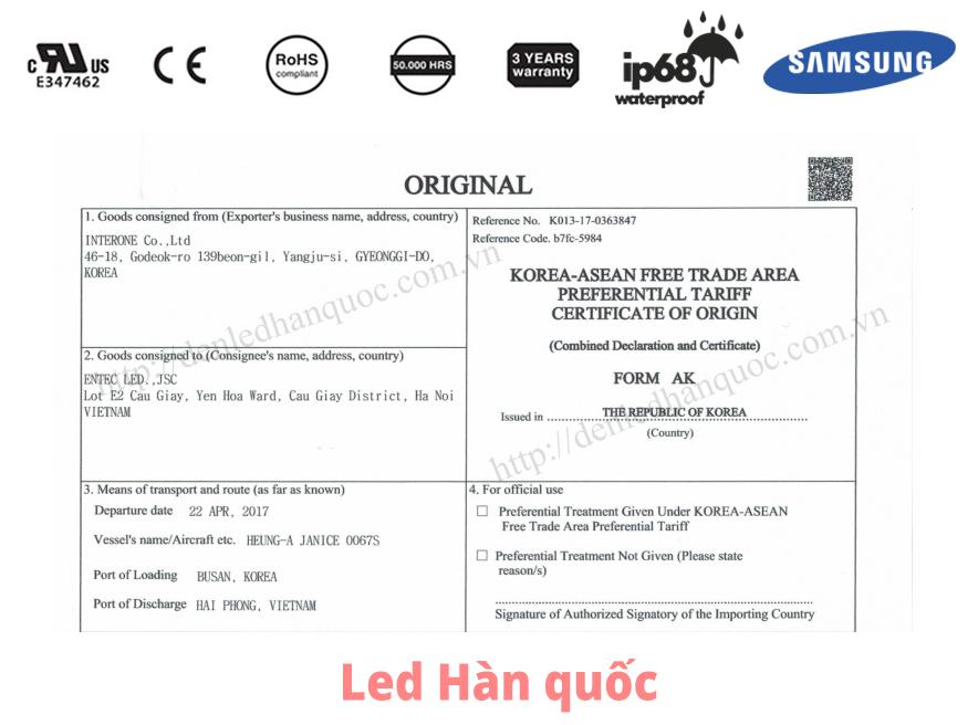 CO - Giấy chứng nhận xuất xứ hàng hóa (Certificate of Origin) thông dụng