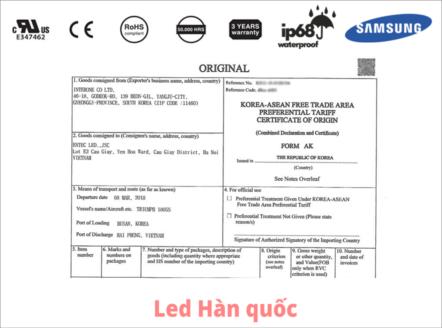 Giấy chứng nhận C/O của đèn LED dây Hàn Quốc