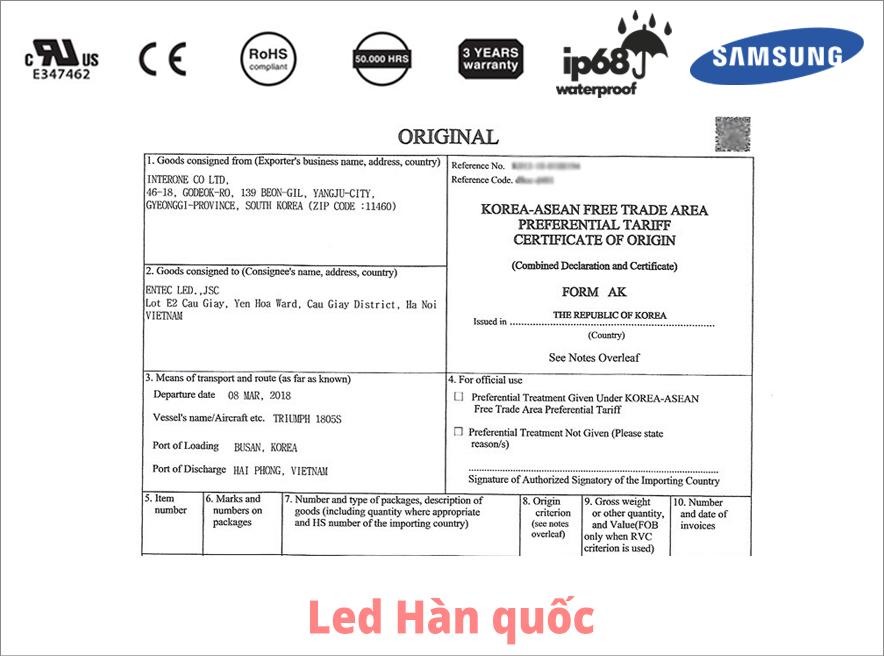 Đèn LED dây thế hệ mới Hàn Quốc đầy đủ C/O FORM AK