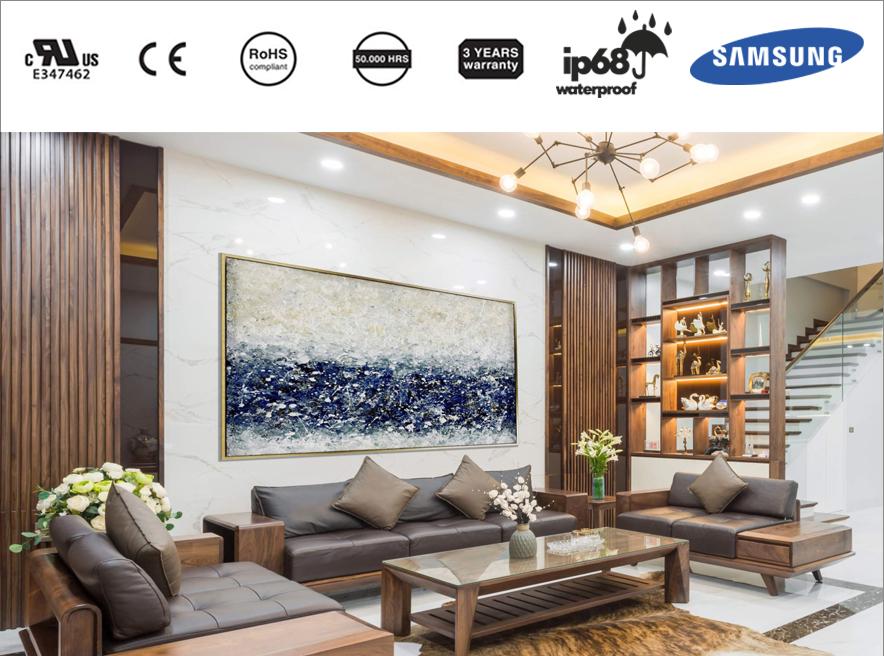 Thiết kế phòng khách chung cư theo phong cách Hàn bằng đèn LED