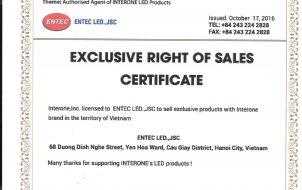 INTERONE, Inc chứng nhận ENTEC LED.,JSC là nhà phân phối độc quyền sản phẩm LED INTERONE tại Việt Nam