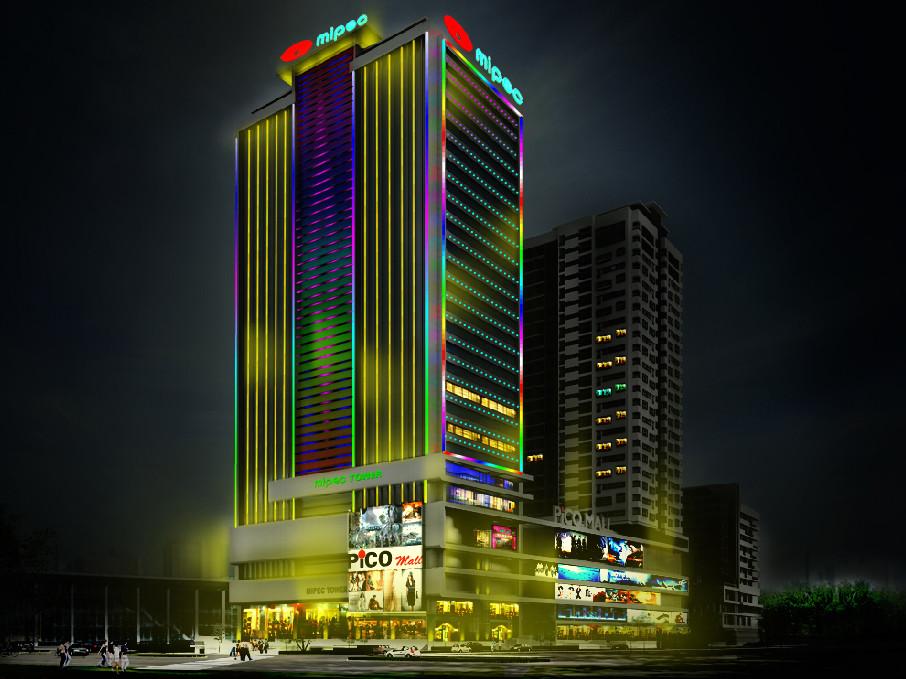 Đèn led 3 màu ững dụng trang trí tòa nhà cao tầng