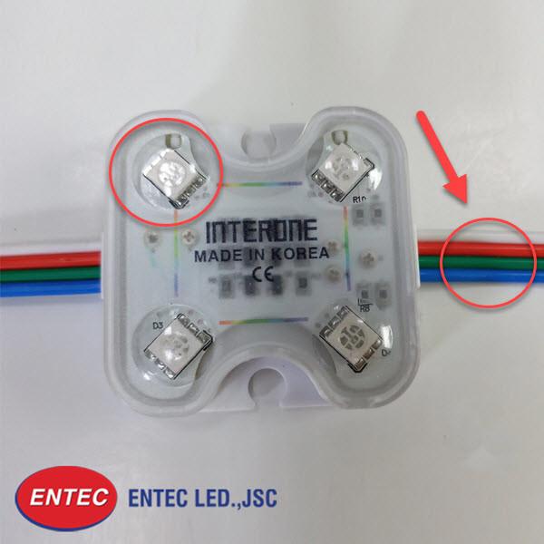 Bên trong mỗi chip LED có 3 điểm màu cơ bản tạo hiệu ứng 16 triệu màu cho đèn